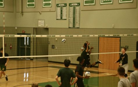 Boys volleyball team playing against Dixon